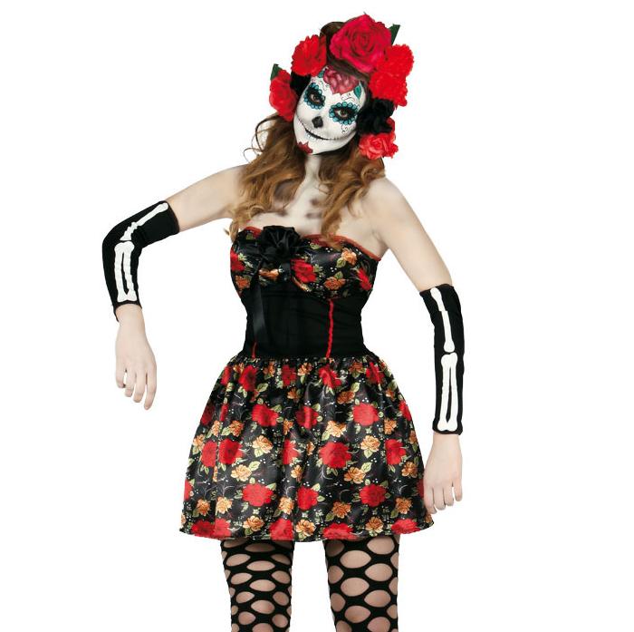 Ladies giorno dei morti Collant Halloween Nero Messicano Adulti Da Donna Hoisery